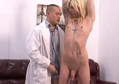 Tgirl deep-throats be proper of facial cumshot
